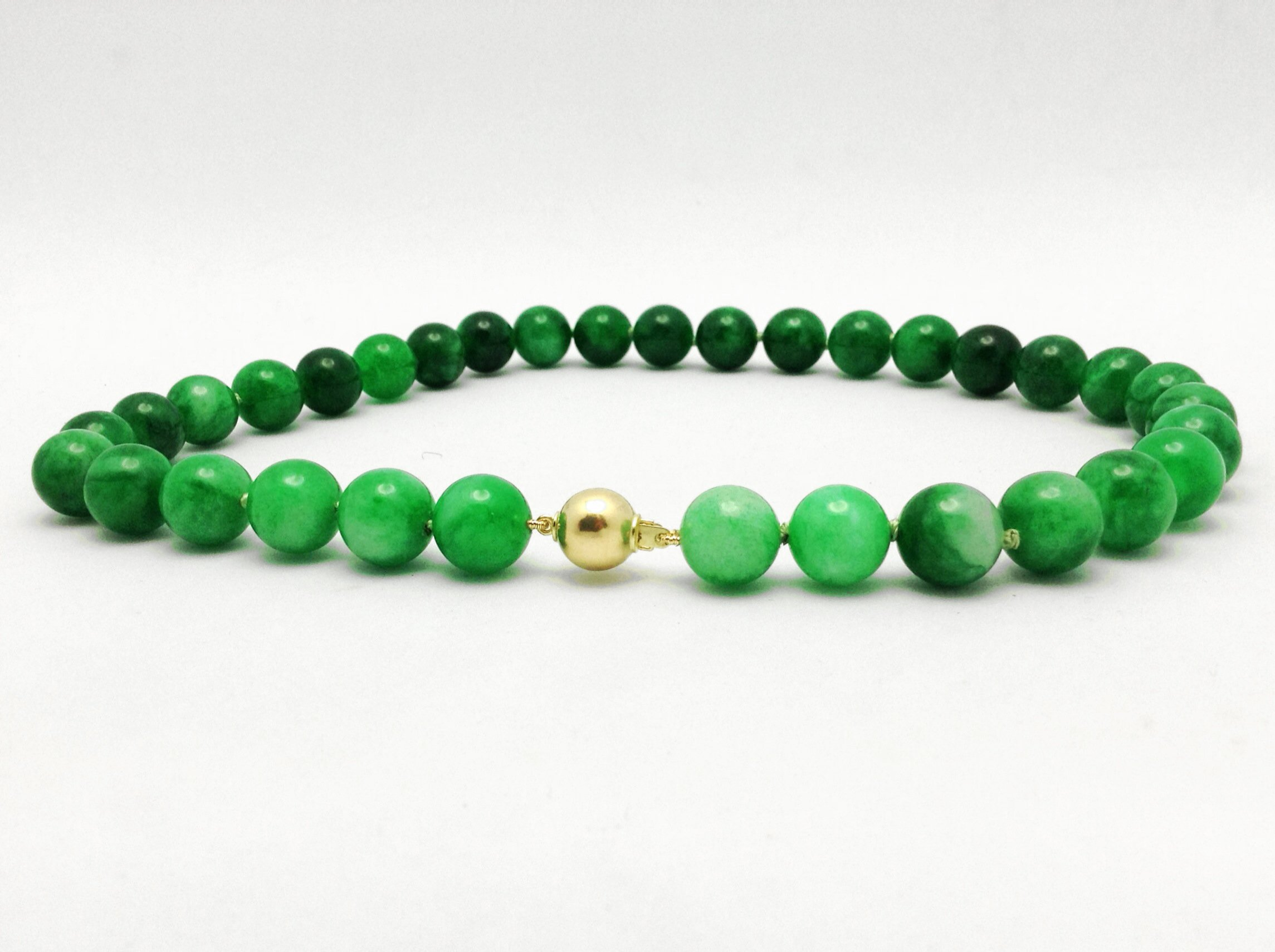 Necklace with Green Beads and Gold Ball Clasp