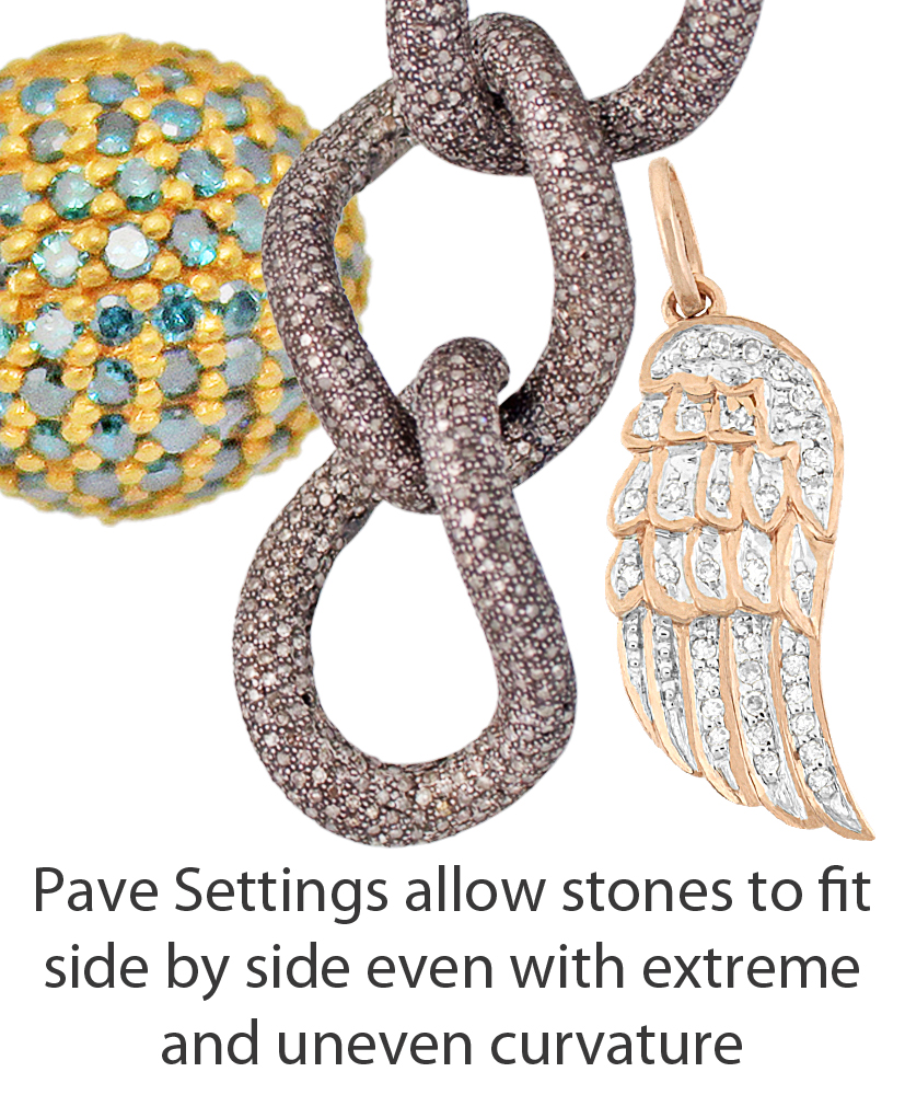 Three Different Color Diamonds and Metals in Pave Setting.