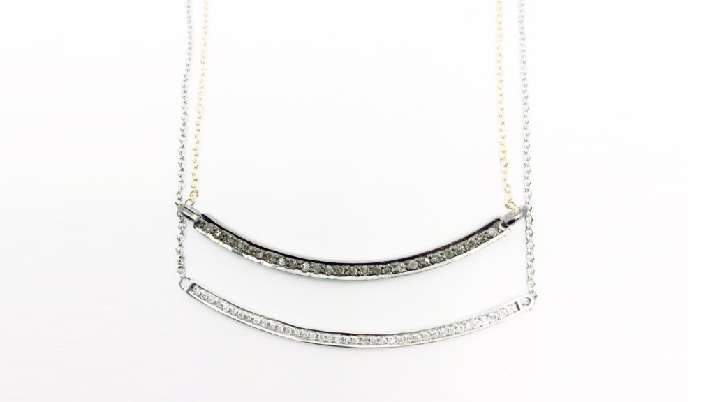 Curved Diamond Bar Pendants with Roundel Accents