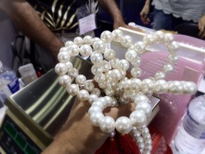 15mm Perfect Round White South Sea Pearls. At ~$7,000/strand, this is like a $35,000 bouquet!