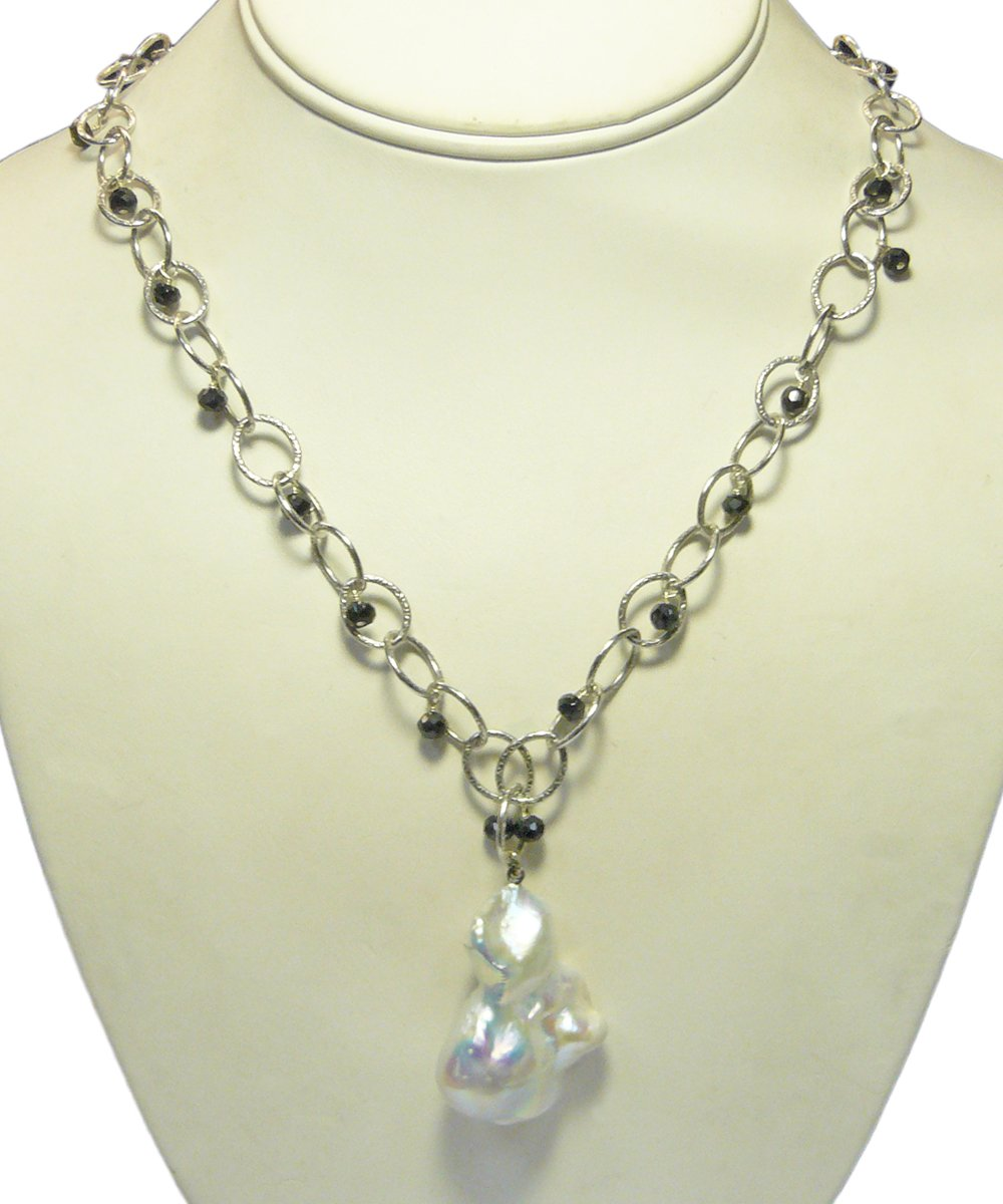 Baroque Pearl Pendant with Black Spinel on Rhodium Silver Chain