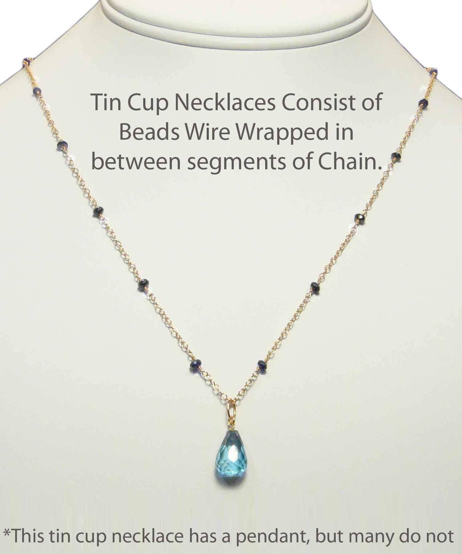 Wirewrap Sapphire with London Blue Topaz Pendant on 14K Rose Chain
