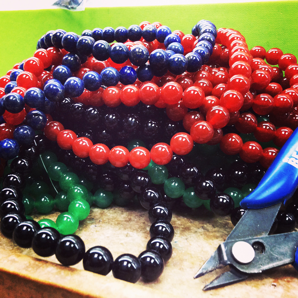 A few different types of gemstone beads.
