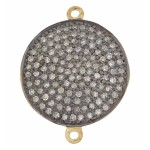 20mm Sterling Silver Pave Diamond Round 2 Ring Domed Disc Connector, High Quality Single Cut Diamonds