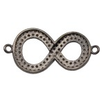 Sterling Silver Oxidized Sterling Silver Pave Diamond Thick Figure-8 Infinity 2 Ring Centerpiece