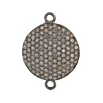18mm Oxidized Sterling Silver Pave Diamond 2 Ring Round Domed Disc Connector