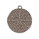 24.5mm Oxidized Sterling Silver Pave Diamond Wavy Disc Pendant