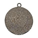 33mm Oxidized Sterling Silver Pave Diamond Flat Disc Pendant