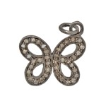16mm Oxidized Sterling Silver Pave Diamond Butterfly Charm
