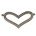 Sterling Silver Oxidized Pave Diamond Thick Heart 2 Ring Centerpiece