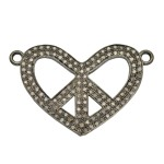 Sterling Silver Oxidized Sterling Silver Pave Diamond Peace and Heart 2 Ring, 2 Row Centerpiece