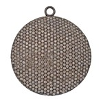 38mm Oxidized Sterling Silver Pave Diamond Flat Disc Pendant