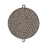 32mm Oxidized Sterling Silver Pave Diamond 2 Ring Round Domed Disc Connector