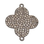 25mm Oxidized Sterling Silver and Pave Diamond 2 Ring Flower Connector