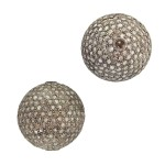 16mm Oxidized Sterling Silver Pave Diamond Round Ball Bead