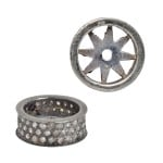 12x4.9mm Oxidized Sterling Silver Triple Row Pave Champagne Diamond Roundel