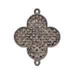 20mm Oxidized Sterling Silver and Pave Diamond 2 Ring Flower Connector