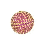 12mm 14K Gold Pave Ruby Round Ball Bead
