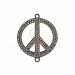 Sterling Silver Oxidized Sterling Silver Pave Diamond Thick Round Peace Sign 2 Ring Centerpiece