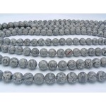 18mm Grey Crazy Lace Agate Smooth Round Beads