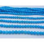 6mm Magnesite Smooth Round Beads, Blue Color