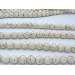 12mm Magnesite Smooth Round Beads, Ivory Color