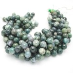 14mm Moss Agate Faceted Round Beads
