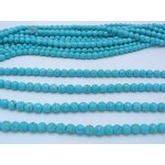 8mm Magnesite Faceted Round Beads, Light Blue Color with Veins
