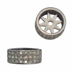 12.2x4.6mm Oxidized Sterling Silver Triple Row Pave Champagne Diamond Roundel