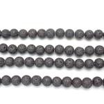 10mm Black Lava Round Beads