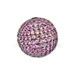 12mm 14K Gold Pave Pink Sapphire Round Ball Bead