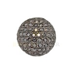 12mm Oxidized Sterling Silver Pave Black Diamond Round Ball Beads