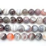 14mm Botswana Agate Faceted Round Beads
